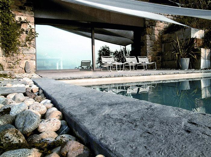 exterior stone house