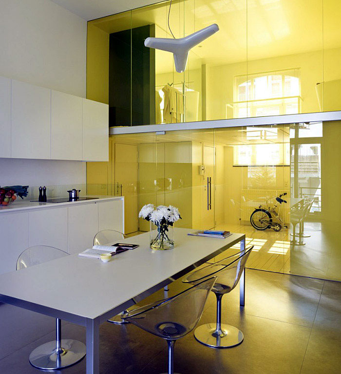 modern kitchen white yellow colouerd