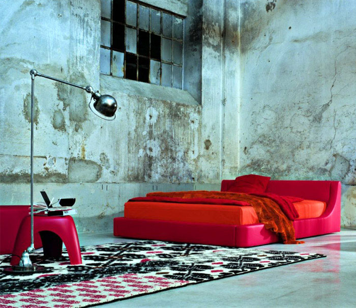 red colored bedroom