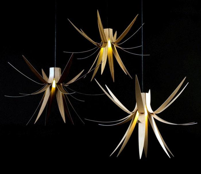 trio of pendant lights walnut zebrano sycamore