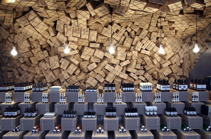 cardboard boxes interior decoration