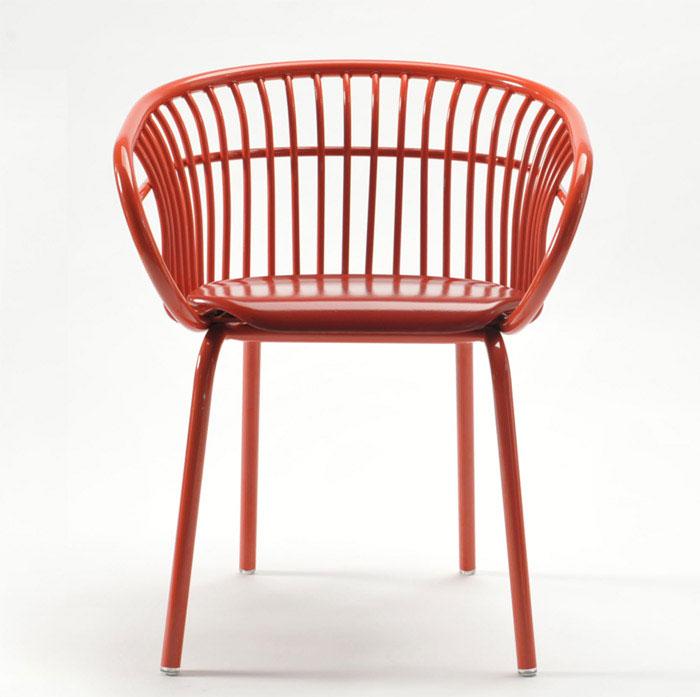 design curved aluminum chair