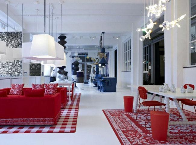 interior design trends red white blue