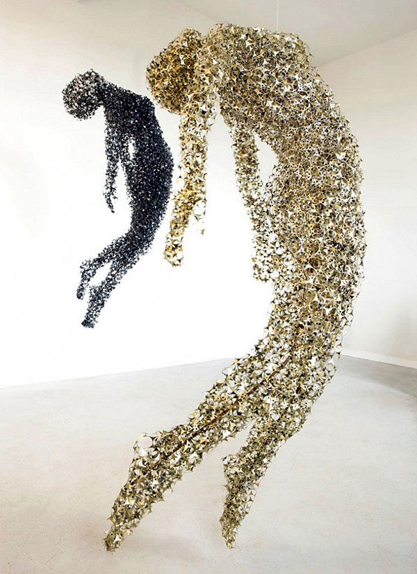 airy sculptures made out ofhundreds ofmetallic pieces