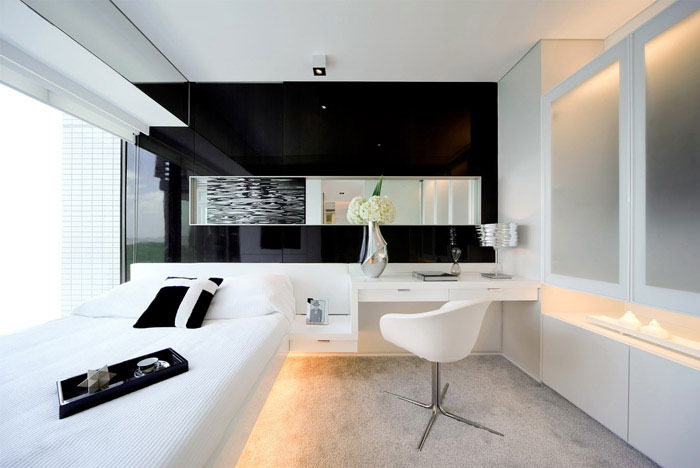 victoria bay front apartment interior whit bedroom