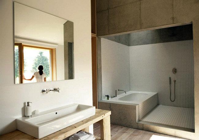 cool concrete interior bathroom