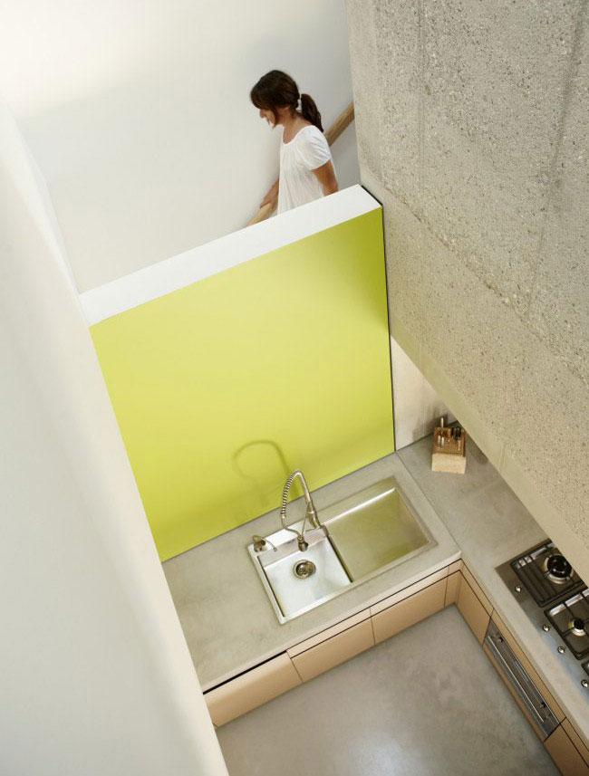 cool concrete interior living area kitchen