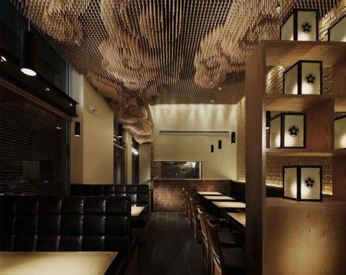 wooden sticks ceiling decor