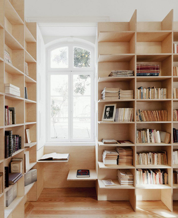artistic house interior bookshelf