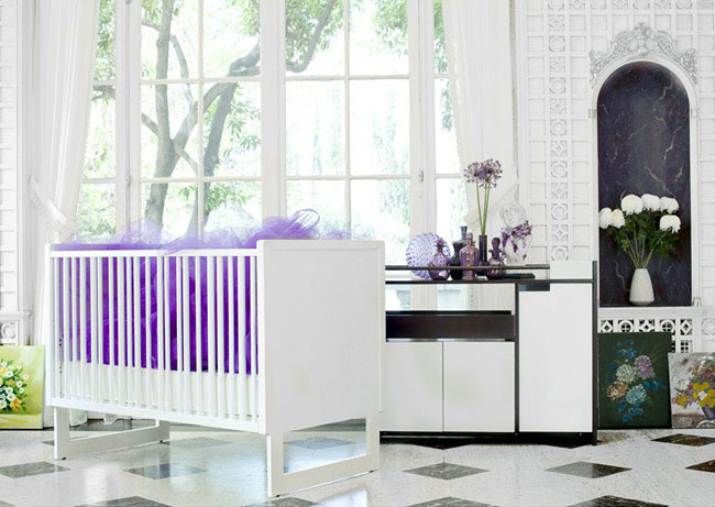 baby crib station purple