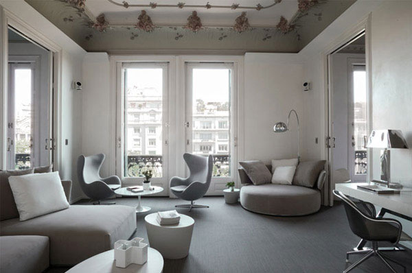 monochromatic colour flat interior living area