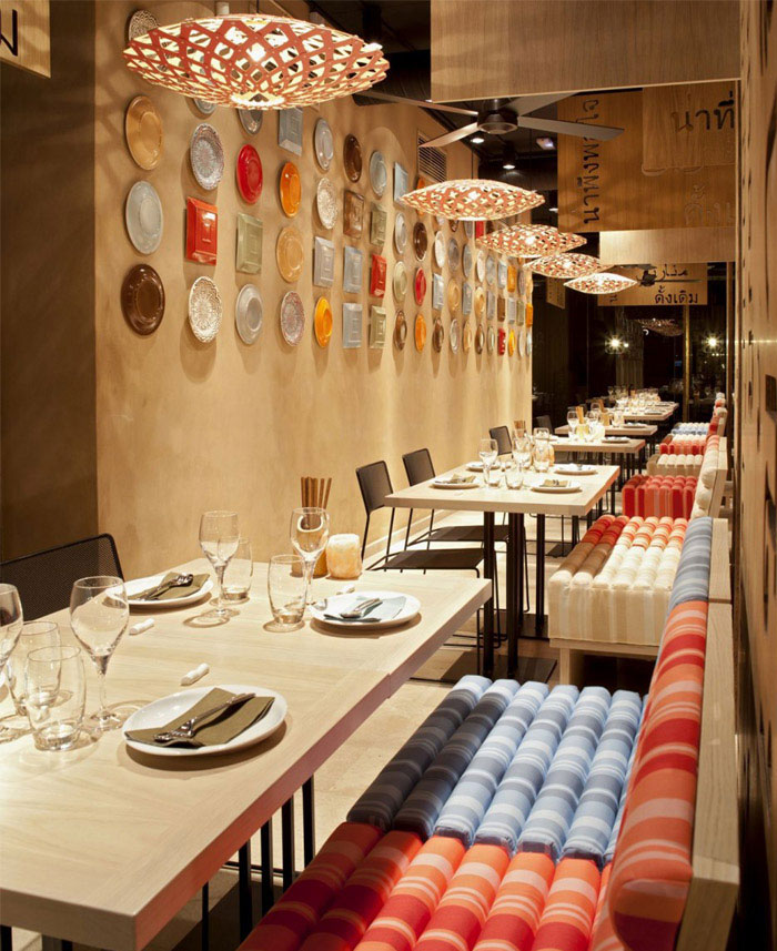 colorful decorated restaurant interior textile