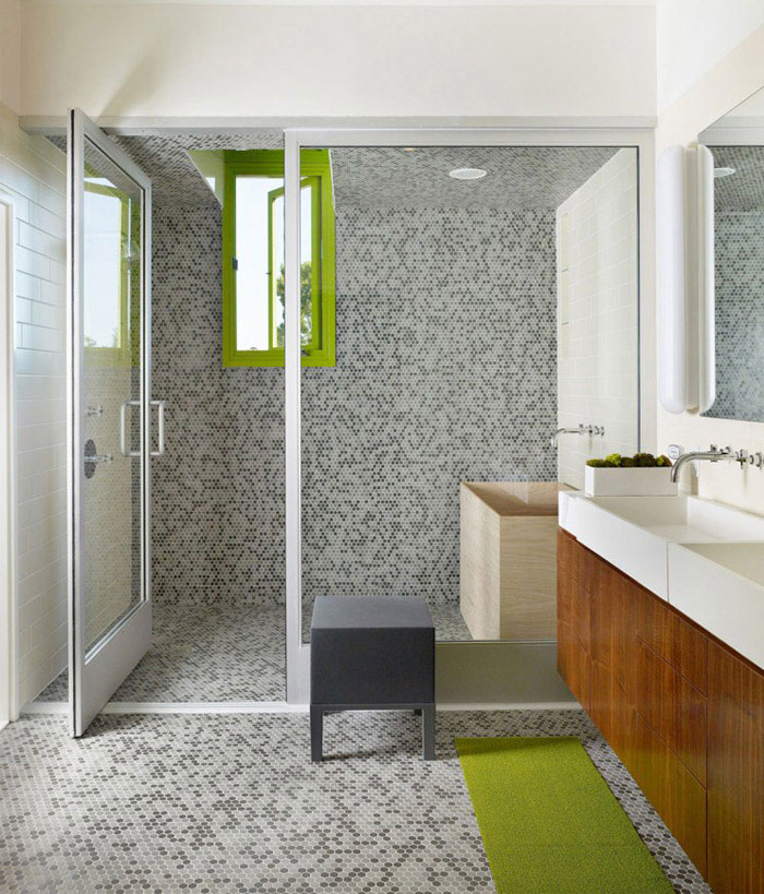 contemporary home with green windows bathroom