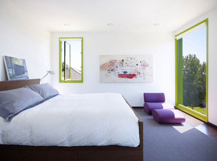 contemporary home with green windows interior bedroom