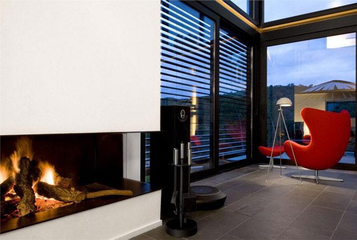 contemporary residence spain interior fireplace