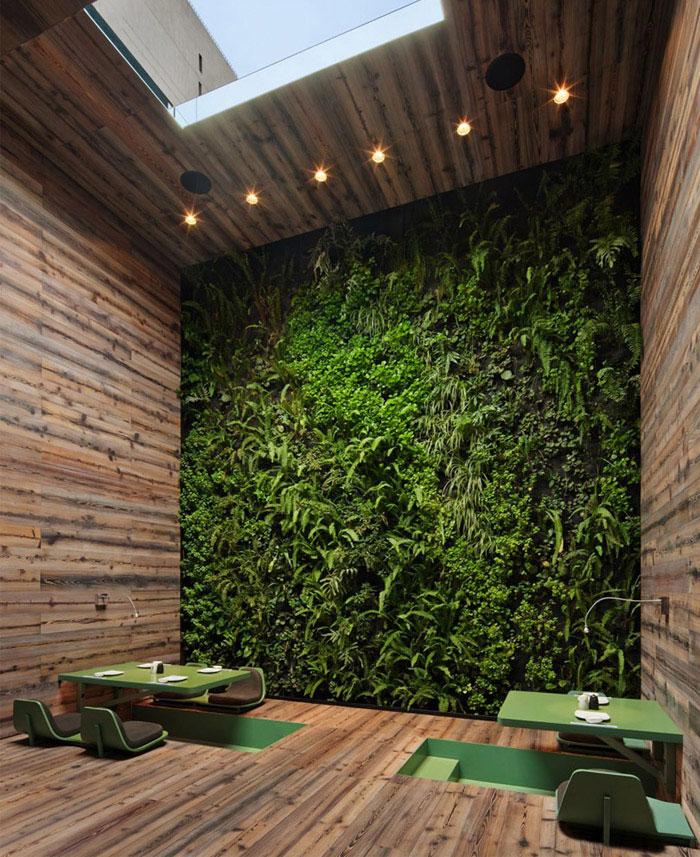 japanese restaurant interior organi wall