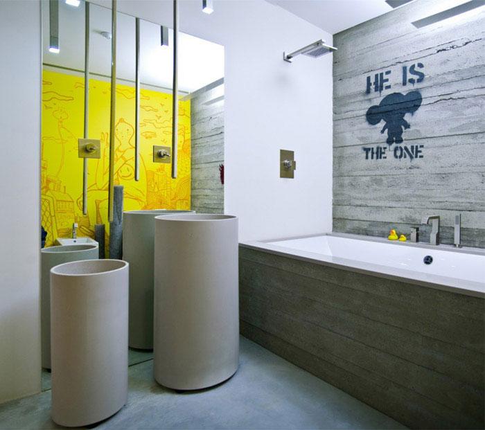 loft apartment warm concrete bath room