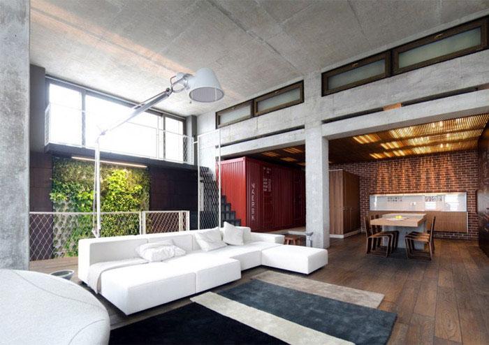 loft apartment warm concrete living room