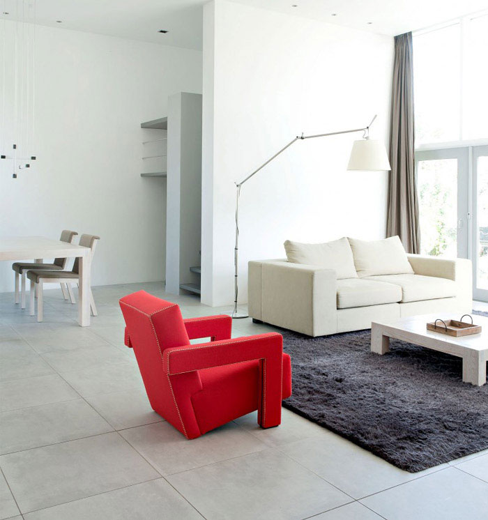 living room interior red chair