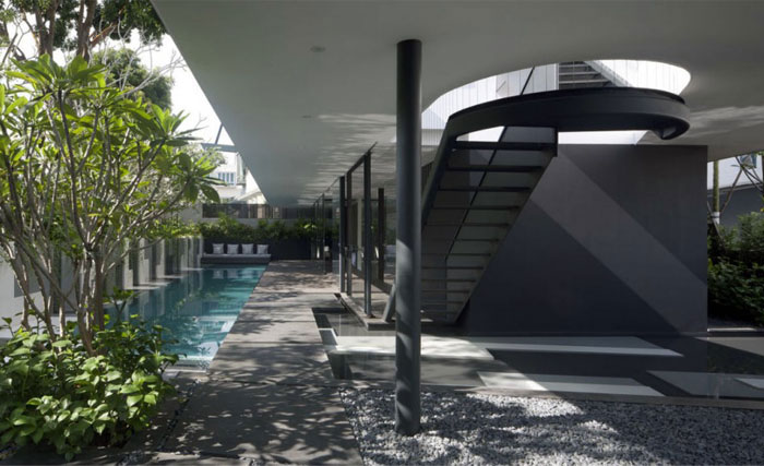 stylish house singapore pool area
