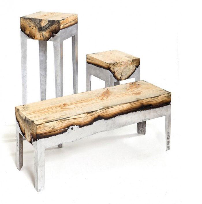furniture cast aluminium wood3