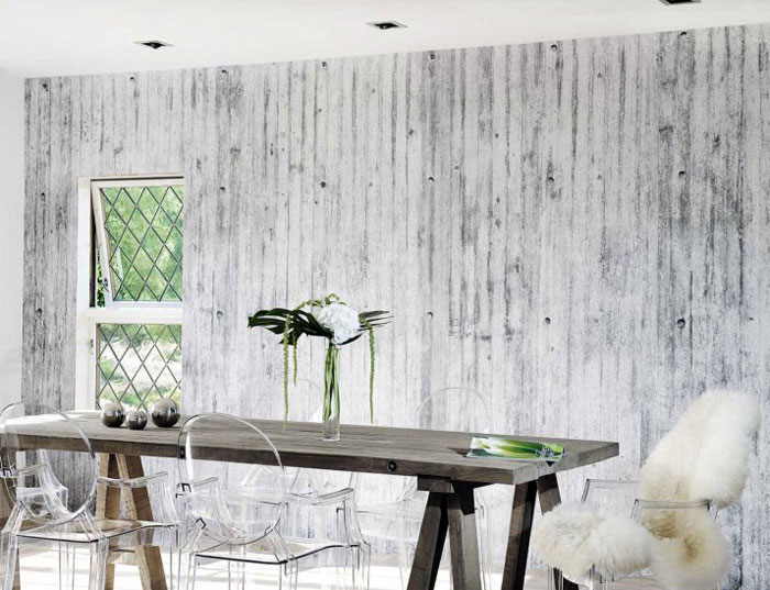 concrete wall dining room interior