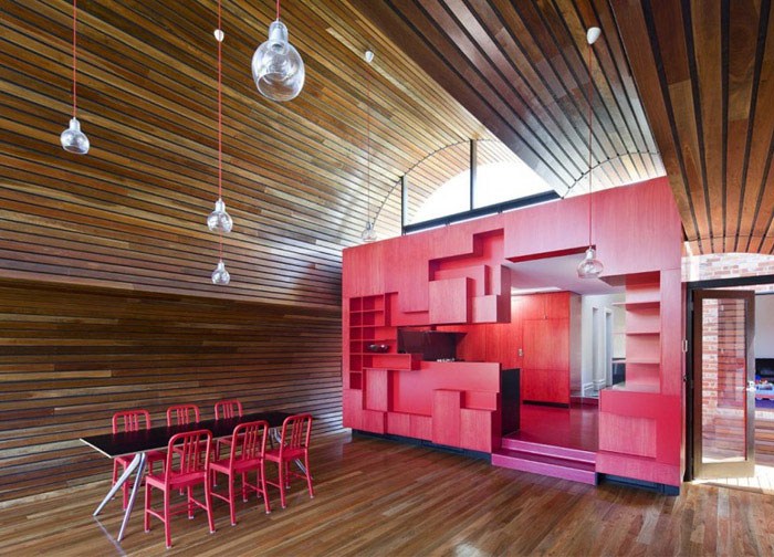 playful geometry red kitchen