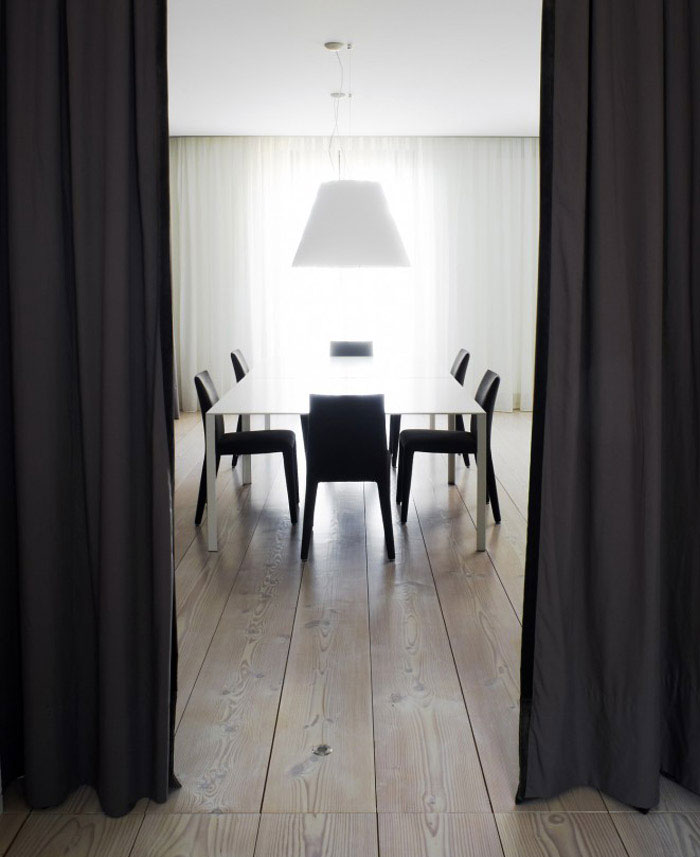 black curtains interior