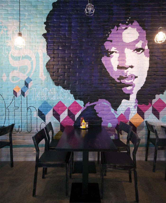restaurant interior mural decor