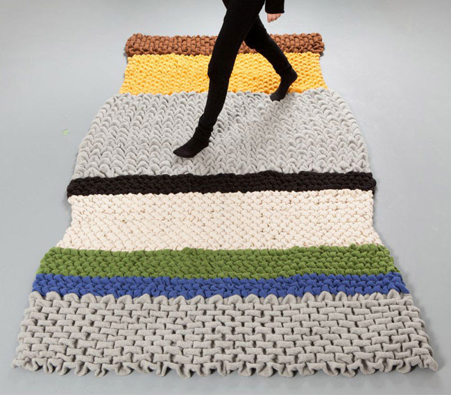 wooly material rug