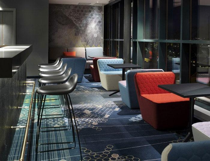 modern colourful hotel bar decor