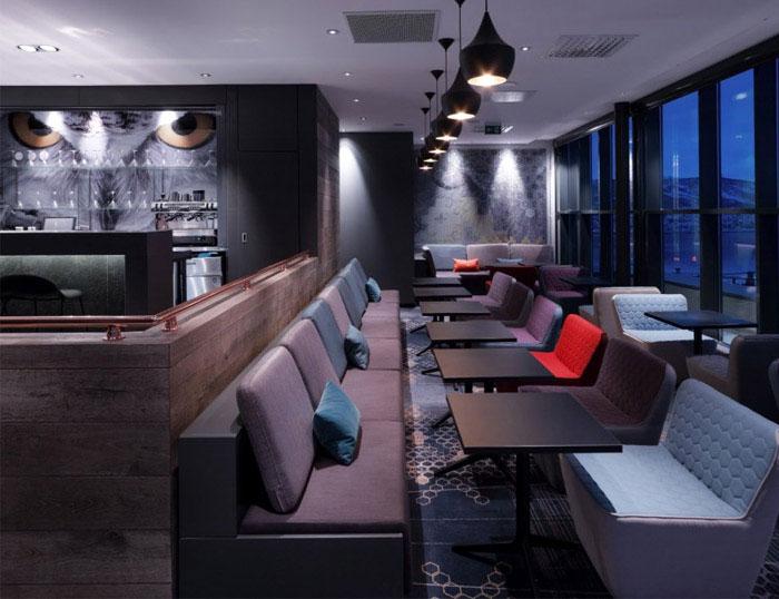 modern colourful hotel interior decor bar