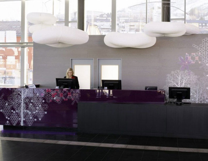 modern colourful hotel loby decor