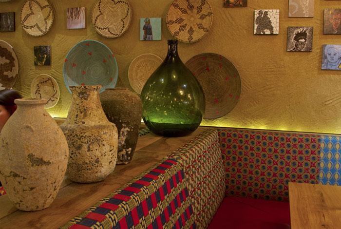 colourful fabric restaurant decor