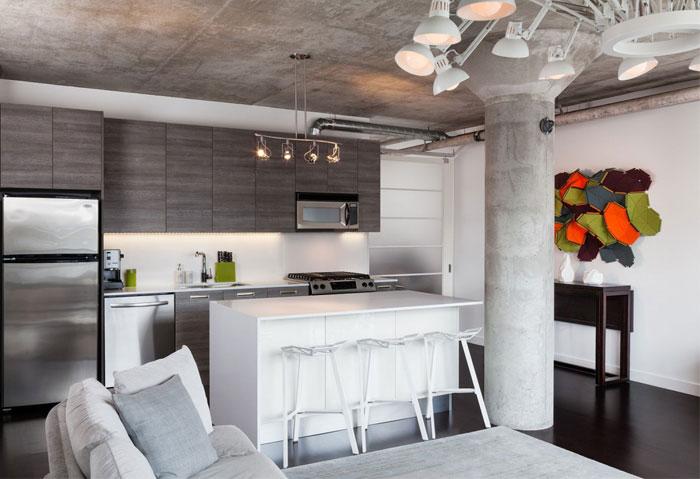 attractive-loft-kitchen-living-area