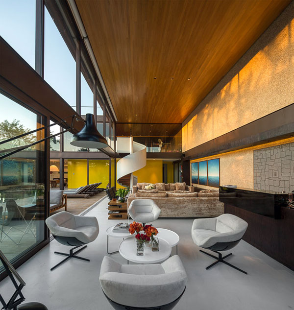 beautiful wood ceiling living room