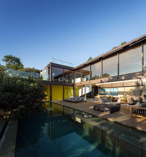 modern dwelling brazil pool area