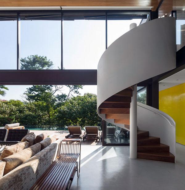 modern dwelling brazil white spiral staircase