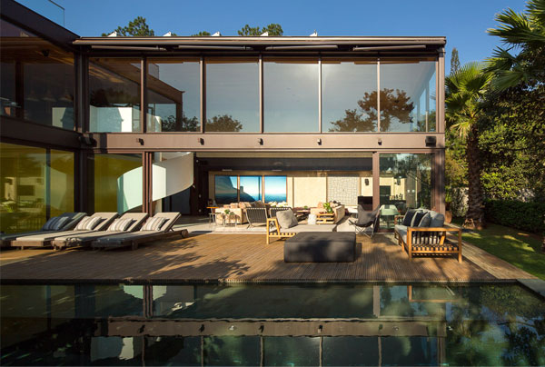 two storey house pool area