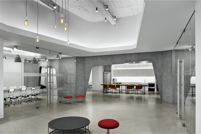 concrete walls hanging edison bulbs