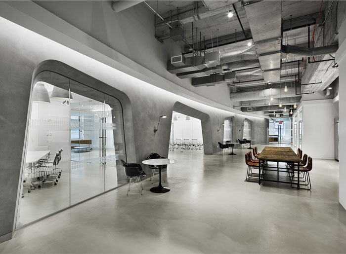 concrete walls office space