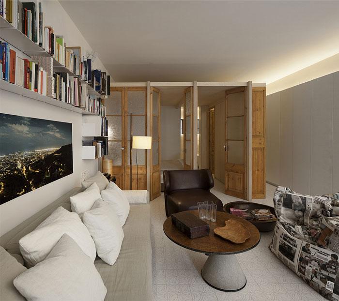 living room re used wood doors