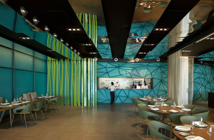 Gold And Turquoise Restaurant Decor In Barcelona