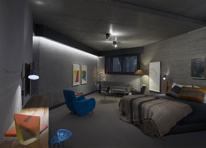 artistic industrial bedroom interior
