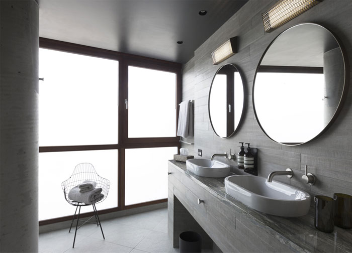 exposed concrete bathroom interior