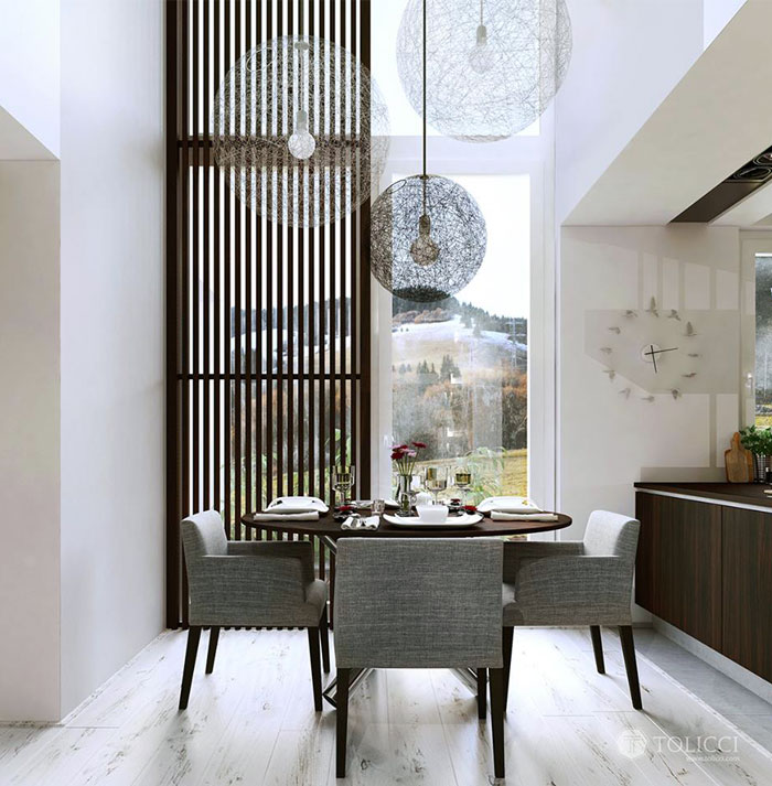 modern cosily furnished dining area