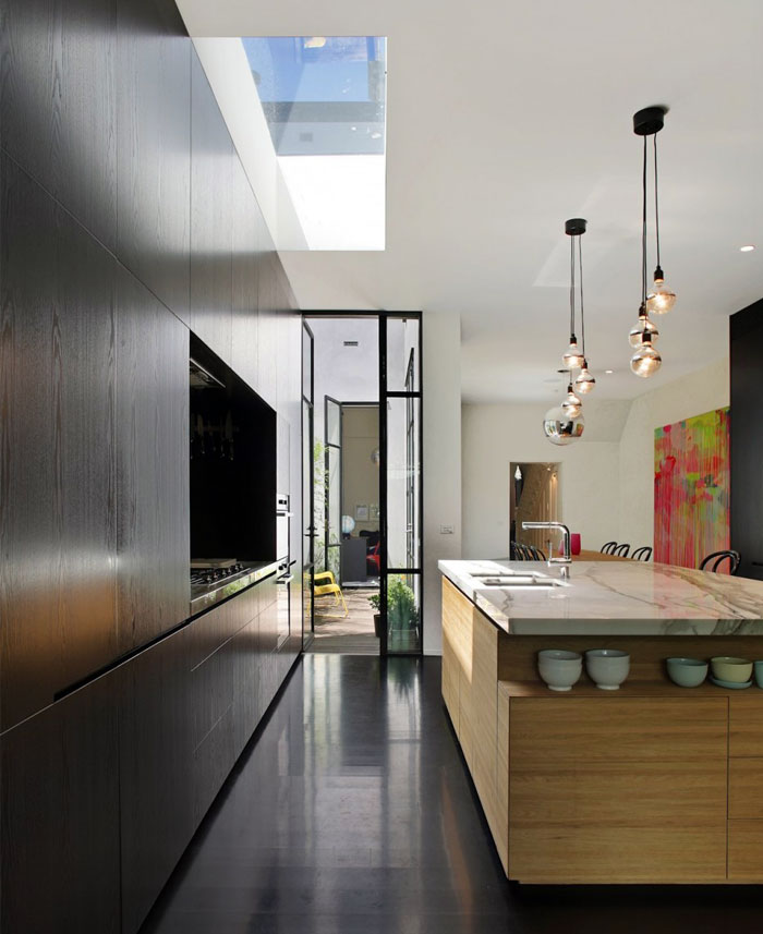 open plan kitchen dining living area