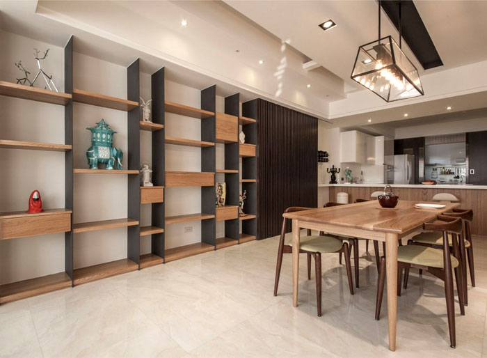 contemporary wooden furniture timber cladding dining room