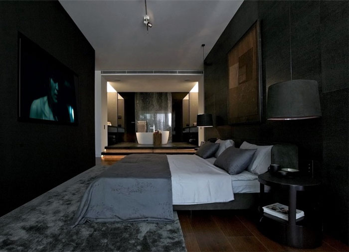 dark-gray-black-bedroom-interior