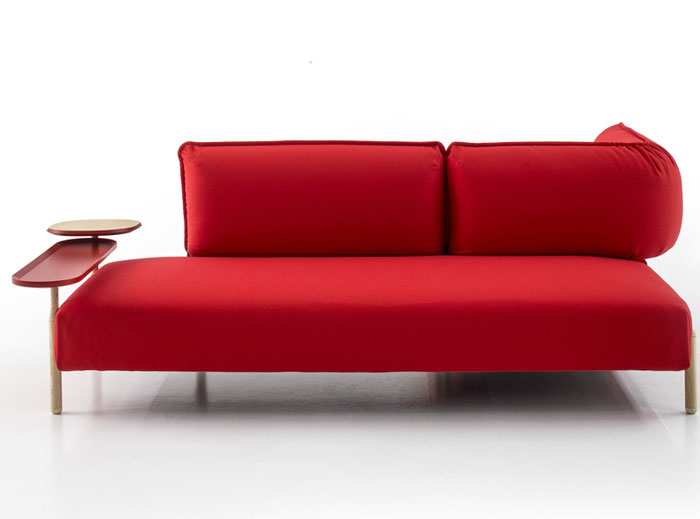 bright color rounded shape red sofa